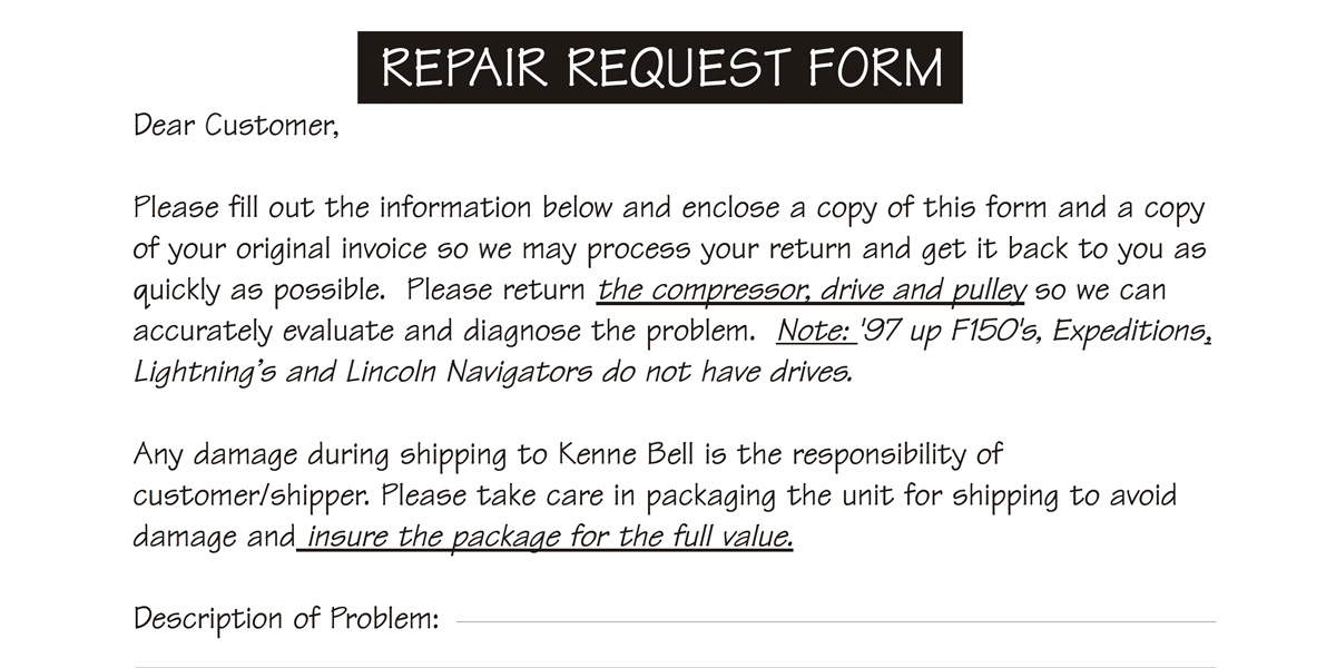 Repair Request Form  Kenne Bell